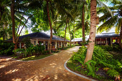 Tropical garden and buidlings in Maldivian resort Royalty Free Stock Photo