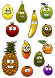 Tropical and garden fruits cartoon characters Stock Images