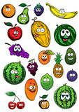 Tropical and garden fruits characters Royalty Free Stock Photography
