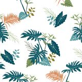 Tropical garden leaves on monotone blue color seamless pattern,for decorative,apparel,fashion,fabric,textile,print or wallpaper royalty free illustration