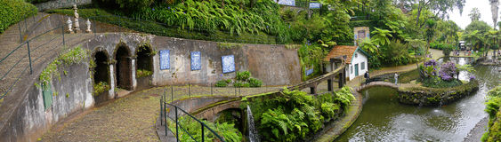 Tropical Garden at Monte above Funchal Madeira. This wonderful garden is at the top of the cablecar from the seafront in Funchal. It is filled with trees, plants Stock Photo