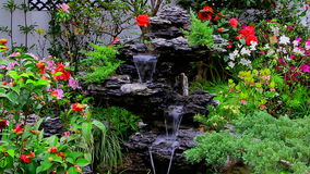 Tropical garden with waterfall on rock formation. Continuous flowing waterfall on taihu rock formation in a tropical garden filled with assorted flowering plants stock video