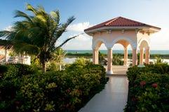 Tropical gazebo in paradise. Beautiful tropical resort gazebo in paradise Royalty Free Stock Images