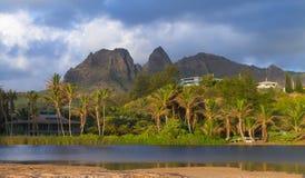 Tropical getaway. A tropical getaway house on the Kauai Coast in the summer season Stock Photos