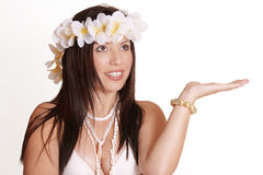 Tropical Girl. Exotic woman with hand outstretched. You could place a product, globe, fruit, etc in her hand stock photography