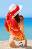 Tropical Girl. Beauty Girl in white swim suite and red pareo royalty free stock photography