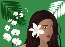 Tropical Girl. Vector girl, tropical flowers and palm frond Stock Photography