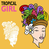 Tropical Girl with Fruit Hat Royalty Free Stock Photography