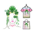 Tropical girl with leaves and flowers in her hair on a pink background. Tropical girl with leaves and flowers in her hair Royalty Free Stock Image