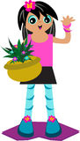 Tropical Girl with Plant Basket Stock Images