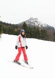 Tropical girl skiing Stock Image