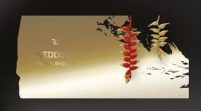 Tropical gold red plants on black background. Tropical gold red heliconia plants on dark black background vector. Beautiful botanical vintage design with golden royalty free illustration