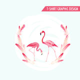 Tropical Graphic Design. Flamingo Birds Royalty Free Stock Images