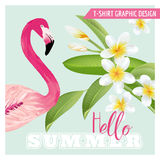 Tropical Graphic Design - Flamingo and Tropical Flowers Royalty Free Stock Photos
