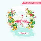 Tropical Graphic Design With Flamingo And Tropical Flowers Stock Image
