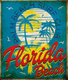 Tropical graphic with typography design florida beach surf club. Fashion design Stock Image