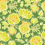 Tropical green abstract sketch floral seamless pattern. For background, wrapping paper, fabric, surface design. Endless naive flower and leaves repeatable motif royalty free illustration