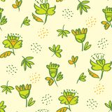 Tropical green abstract sketch floral seamless pattern. For background, wrapping paper, fabric, surface design. Endless naive flower and leaves repeatable motif Stock Image