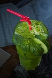 Tropical green cocktail with lemon and fresh mint Stock Photo