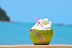 Tropical green coconut with drinking straw Stock Photos