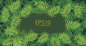 Tropical green leaf pattern background.  royalty free illustration