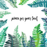 Tropical green and turquoise leaves frame with place for your text. Vector illustration on white background. Hand drawn tropical green and turquoise leaves frame vector illustration