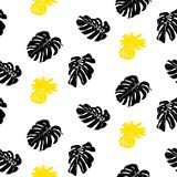 Tropical grunge pattern with fruits and leafs. Vector seamless ditsy pattern with hand drawn pineapples and silhouettes of monstera leaf plants in bright color Stock Photo