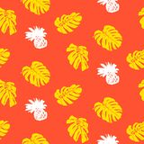Tropical grunge pattern with fruits and leafs. Vector seamless ditsy pattern with hand drawn pineapples and silhouettes of monstera leaf plants in bright color Royalty Free Stock Photo