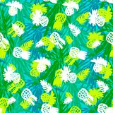 Tropical grunge pattern with fruits and leafs Royalty Free Stock Image