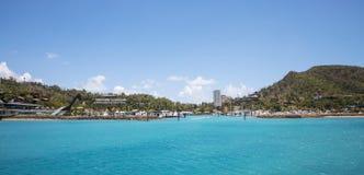 Hamilton Island Marina. Tropical Hamilton Island in the Whitsundays, Queensland Australia stock photo