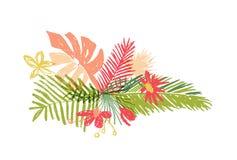 Tropical hand drawn flower leaf, aloha summer. Tropical hand drawn flower leaf composition, vector illustration isolated on white background. Botanical doodle royalty free illustration