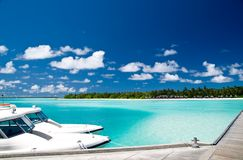 Tropical harbour. On an maldivian island Stock Photo
