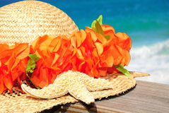 Tropical Hat on Pier Stock Image