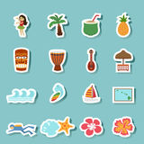 Tropical hawaii island and beach icons Stock Photography
