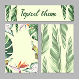 Tropical Hawaii leaves palm tree theme in a watercolor style isolated. Royalty Free Stock Photo