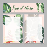 Tropical Hawaii leaves palm tree theme in a watercolor style isolated. Royalty Free Stock Photos