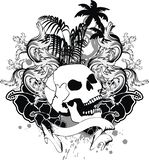 Tropical hawaii skull tattoo ribbon Stock Images