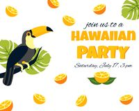 Tropical Hawaiian Poster with toucan. Party template. Invitation, banner, card. Tropical Hawaiian Poster with toucan. Party template Invitation, banner card Royalty Free Stock Images