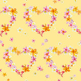 Tropical Hearts Flowers Background Royalty Free Stock Photography