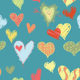 Tropical Hearts Pattern. A seamless pattern of tropical colored, and sketchy designed hearts Stock Illustration