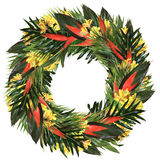 Tropical heliconia & alstroemeria wreath. Tropical wreath with real heliconia & alstroemeria flowers, ti and palm leaves Stock Photos