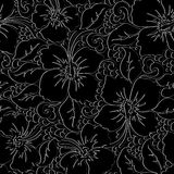 Tropical hibiscus with black background seamless pattern Stock Photos