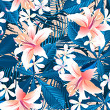 Tropical hibiscus floral 6 seamless pattern royalty free illustration