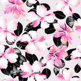 Tropical hibiscus flowers with black leaves seamless pattern vector illustration