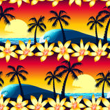 Tropical hibiscus and palm tree at sunset seamless pattern stock illustration
