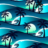 Tropical hibiscus and palm trees at sunset seamless pattern Stock Photography