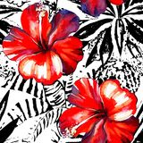 Tropical hibiscus watercolor and graphic exotic plants seamless Stock Photos