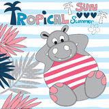 Tropical hippo vector illustration. Tropical hippo animal vector illustration Stock Photography