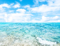 Tropical Holiday Background - Beautiful  summer vacation and bus Royalty Free Stock Images