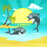 Tropical holiday destination landscape with cute dolphin character playing vector illustration Royalty Free Stock Photos